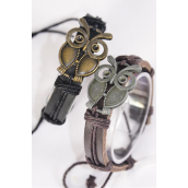 Bracelet Real Leather Owl/DZ **Unisex** Adjustable,6 of each Color Mix,Individual Hang tag & OPP Bag & UPC Code