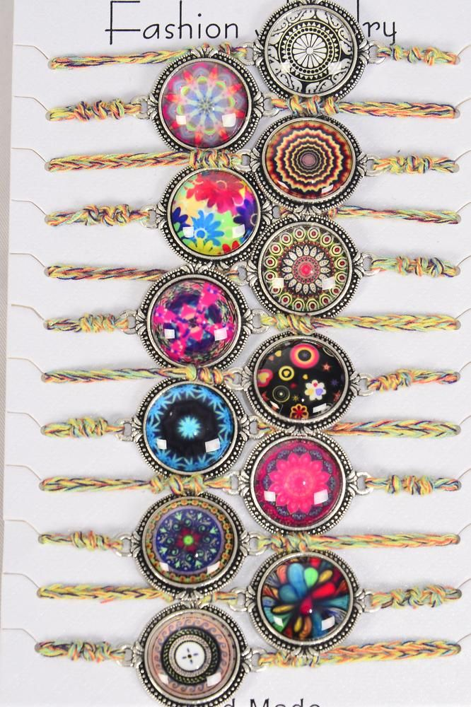 Bracelet Aztec Braid Multi/DZ **Adjustable** 12 Pattern Asst,Hang tag & OPP Bag & UPC Code,1 Dozen per Card