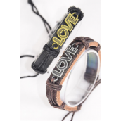 Bracelet Real Leather Band Love Words/DZ **Unisex** Adjustable,6 of each Color Mix,Individual Hang tag & OPP Bag & UPC Code
