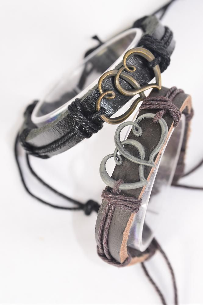 Bracelet Real Leather Band Double Hearts/DZ **Unisex** Adjustable,6 of each Color Mix,Individual Hang tag & OPP Bag & UPC Code