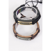 Bracelet Real Leather Band Be Happy/DZ **Unisex** Adjustable,6 of each Color Mix,Individual Hang tag & OPP Bag & UPC Code