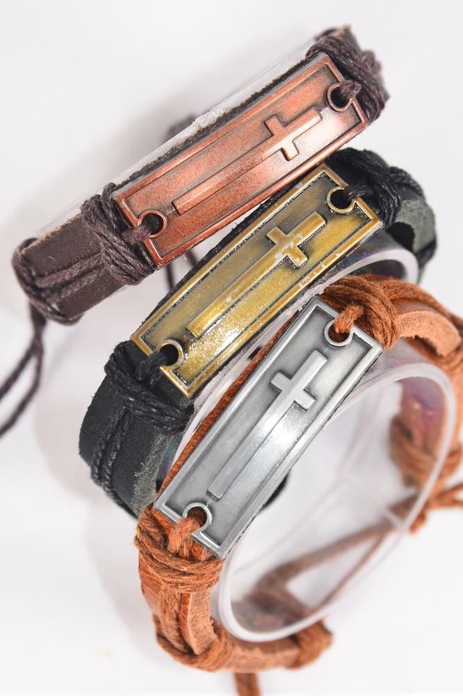 Bracelet Real Leather Band Cross/DZ **Unisex** Adjustable,4 of each Color Mix,Individual Hang tag & OPP Bag & UPC Code