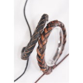 Bracelet Real Leather Band Braided Adjustable/DZ **Unisex** Adjustable,6 of each Color Mix,Individual Hang tag & OPP Bag & UPC Code