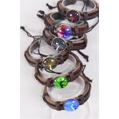 Bracelet Real Leather Band Glass Dome Tree of Life/DZ **Unisex** Adjustable,2 of each Color Asst,Individual Hang tag & OPP Bag & UPC Code