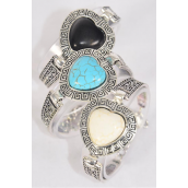 "Bracelet Heart Semiprecious Stone/DZ match 02932 70003 **Adjustable Length** Extension Chain,Heart-1.25"" x 1.25"" Wide,4 Black,4 Ivory,4 Turquoise Asst,Hang Tag & OPP Bag & UPC Code"