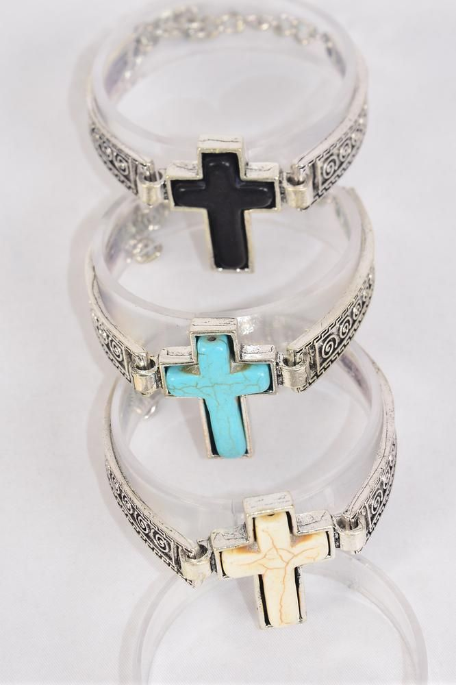 "Bracelet Cross Semiprecious Stone/DZ match 75023 Cross- 1.5""x 1"",Adjustable Length,4 Black,4 Ivory,4 Turquoise Asst,Hang Tag & OPP Bag & UPC Code"