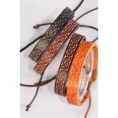 Bracelet Real Leather Band Stamps Celtic Adjustable/DZ **Unisex** Adjustable,4 of each Color Asst,Display Card & OPP Bag & UPC Code