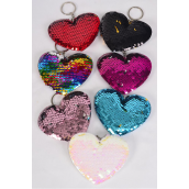 "Key Chain Multi Heart Mermaid Sequin Fabric 2 Tone Reversible Dragon Shiny Scale/DZ **Multi** Size-4.5""x 3.25"" Wide,2 Black,2 Red,2 Multi,2 White,2 Pink,1 Fuchsia,1 Blue,7 Color Asst,OPP Bag"