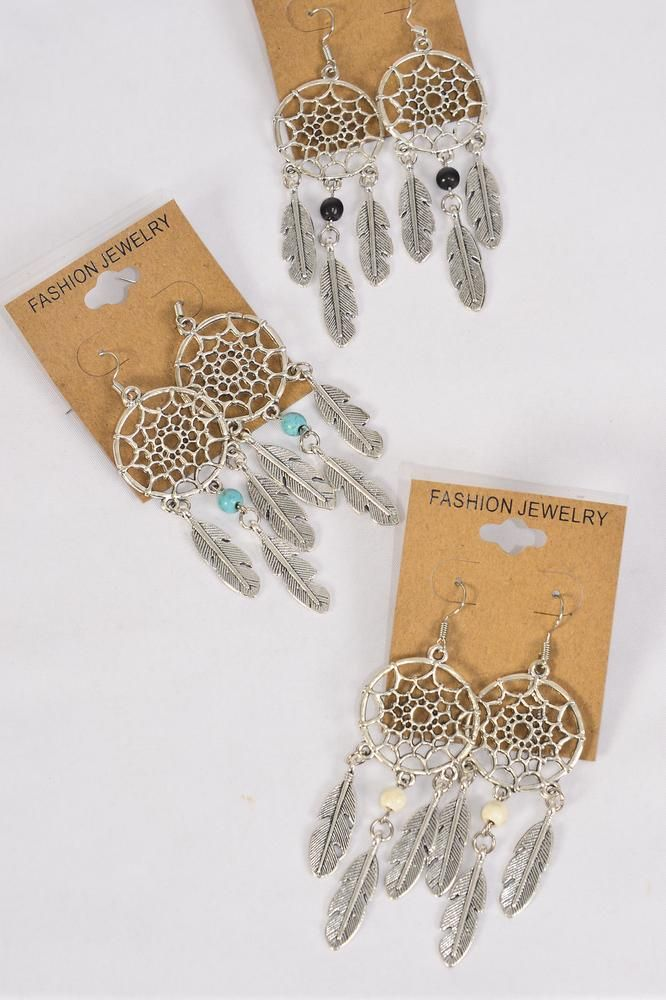 "Earrings Metal Antique Dream Catcher Semiprecious Stone/DZ **Fish Hook** Size-2""x 1"" Wide,4 Black,4 Ivory,4 Turquoise Asst,Earring Card & OPP Bag & UPC Code -"