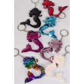"Key Chain Mermaid Sequin Fabric 2 Tone Reversible Dragon Shiny Scale/DZ **Multi** Size-4""x 3"" Wide,2 Black,2 Red,2 Multi,2 White,2 Pink,1 Fuchsia,1 Blue,7 Color Asst,OPP Bag"