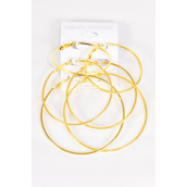 "Earrings 3 Pair Metal Hoop Mix Smooth Finish Gold/DZ **Gold** Size-1.75"" 2"" 2.5"" 3 Size Mix,Earring Card & OPP Bag & UPC Code"