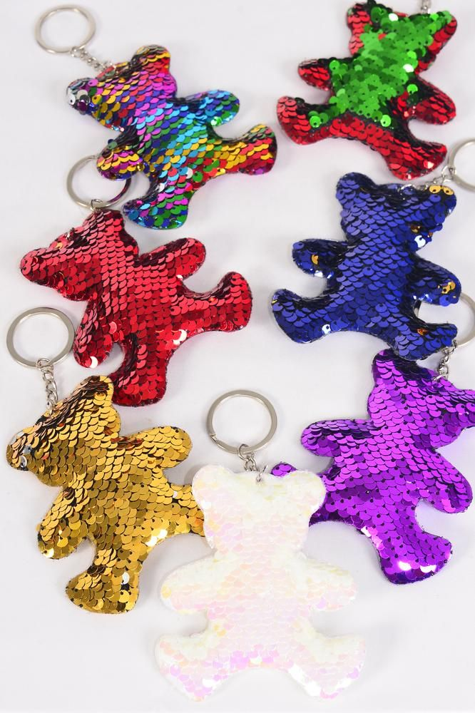 "Key Chain Bear Sequin Fabric 2 Tone Reversible Dragon Shiny Scale/DZ **Multi** Size-3.5""x 3"" Wide,2 Xma,2 Red,2 Multi,2 White,2 Gold,1 Purple,1 Royal Blue,7 Color Asst,OPP Bag & UPC Code"