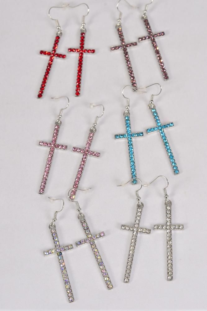 "Earrings Metal Cross Silver Color Rhinestones/DZ **Fish Hook** Size-2""x 0.75"" Wide,2  of each Color Asst,Earring Card & OPP Bag & UPC Code"