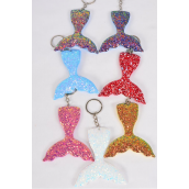 "Key Chain Mermaid Tail Glitter Multi/DZ **Multi** Size-3.5""x 3.5"" Wide,2 Red,2 Royal Blue,2 White,2 Gold,2 Pink,1 Purple,1 Sky Blue,7 Color Asst,OPP Bag"
