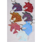 "Key Chain Unicorn Glitter Multi/DZ **Multi** Size-4""x 3"" Wide,2 Red,2 Royal Blue,2 White,2 Gold,2 Pink,1 Purple,1 Sky Blue,7 Color Asst,OPP Bag"