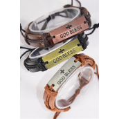 Bracelet Real Leather Band God Bless/DZ **Unisex** Adjustable,4 of each Color Mix,Individual Hang tag & OPP Bag & UPC Code