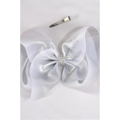 "Hair Bow Jumbo Cheer Type Bow Silver Holographic Grosgrain Bow-tie/DZ **Silver** Alligator Clip,Size-8""x 7"" Wide,Clip Strip & UPC Code"