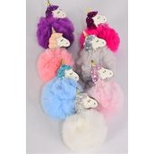 "Key Chain Fur Ball Glitter Unicorn /DZ Fur Ball Size-3"",Unicorn-2""x 1.5"" Wide,2 White,2 Hot Pink,2 Blue,2 Baby Pink,2 Peach,1 Gray,1 Lavender,7 Color Asst,OPP Bag & UPC Code"