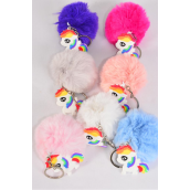 "Key Chain Fur Ball Rainbow Pony/DZ Fur Ball Size-3"",Pony-1.75""x 1.75"",2 White,2 Pink,2 Blue,2 Fuchsia,2 Peach,1 Gray,1 Purple,7 Color Asst,OPP Bag & UPC Code"