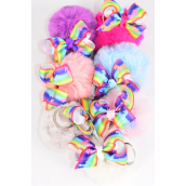 "Key Chain Pom Pom Rainbow Unicorn Grosgrain Bowtie/DZ Fur Ball Size-3"",Bow-3""x 2.5"",2 White,2 Hot Pink,2 Blue,2 Fuchsia,2 Peach,1 Gray,1 Lavender,7 Color Asst,OPP Bag & UPC Code"