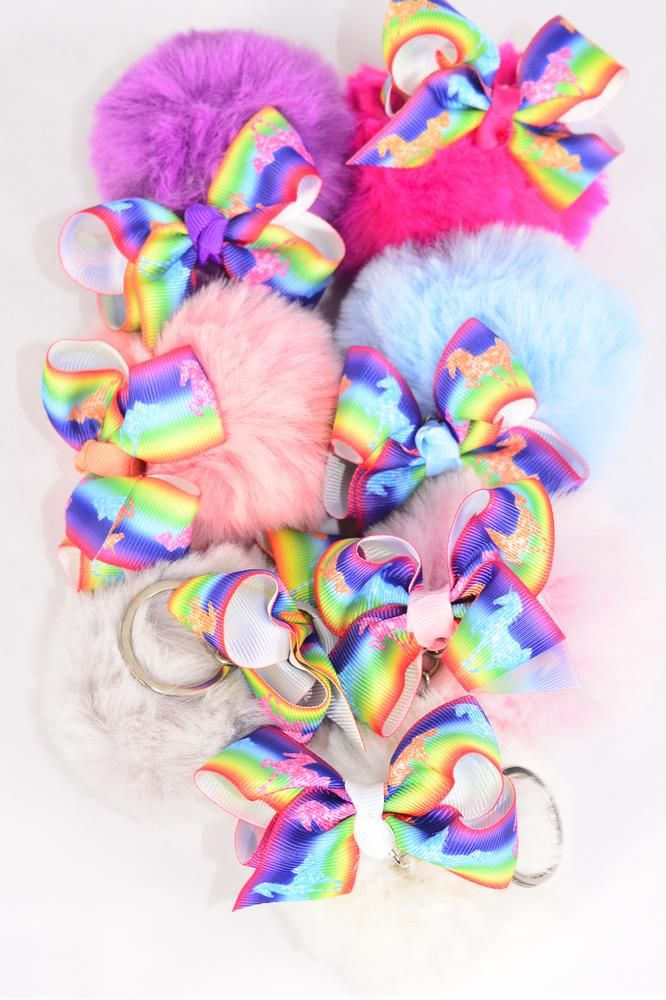 "Key Chain Fur Ball Rainbow Unicorn Grosgrain Bowtie/DZ Fur Ball Size-3"",Bow-3""x 2.5"",2 White,2 Hot Pink,2 Blue,2 Fuchsia,2 Peach,1 Gray,1 Lavender,7 Color Asst,OPP Bag & UPC Code"