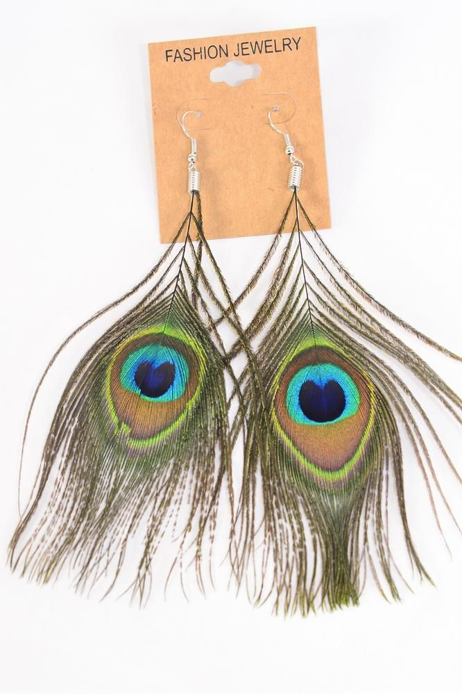 "Earrings Peacock Feathers/DZ **Fish Hook** Size-4.5""x  3"" Wide,Earring Card & OPP Bag & UPC Code"