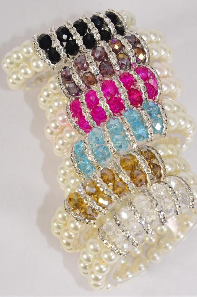 "Bracelet 2 Line Pearl 8 mm Center Glass Crystals Rhinestone Bezels Stretch/DZ **Stretch** Size-1"" Dia Wide,2 of each Color Asst,Hang tag & Opp Bag & UPC Code -"
