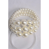 Bracelet 3 Strands of Pearls Center 14 mm ABS Pearl Rhinestone Bezels Cream Pearl/DZ **Stretch** Hang tag & Opp Bag & UPC Code