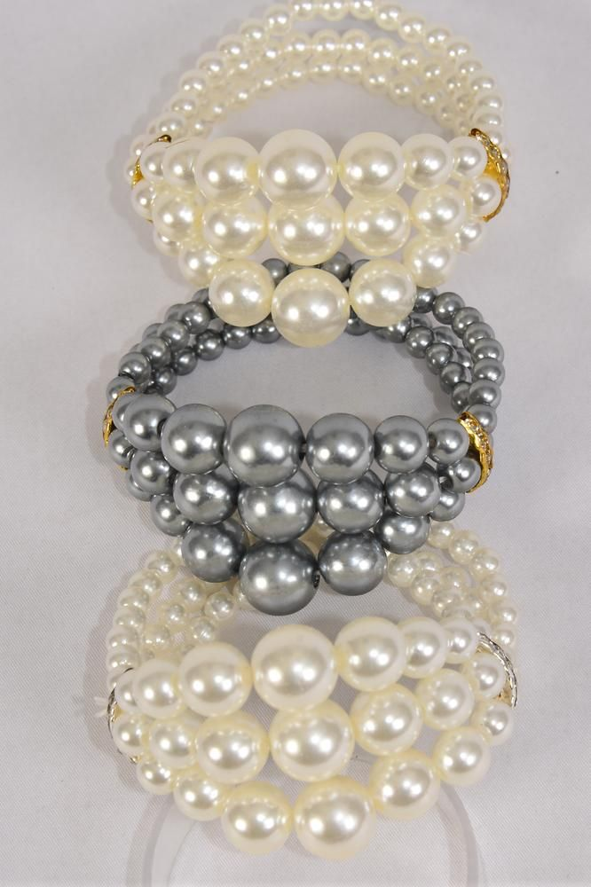 Bracelet 3 Line Pearl Center ABS Pearls Rhinestone Bezels/DZ **Stretch** 4 of each Color Asst,Hang tag & Opp bag & UPC Code