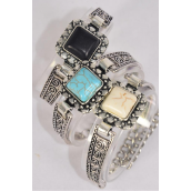 "Bracelet Square Semiprecious Stone/DZ Face- 1.5""x 1"",Adjustable Length,4 Black,4 Ivory,4 Turquoise Asst,Hang Tag & OPP Bag & UPC Code"