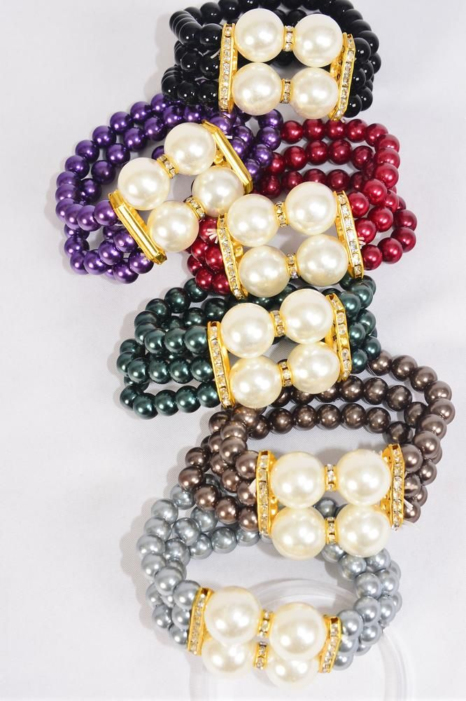 Bracelet 3 Line Pearl 8 mm Center 16 mm ABS Pearl Rhinestone Bezels Multi/DZ **Multi** Stretch,2 of each Color Asst,Hang tag & Opp Bag & UPC Code -