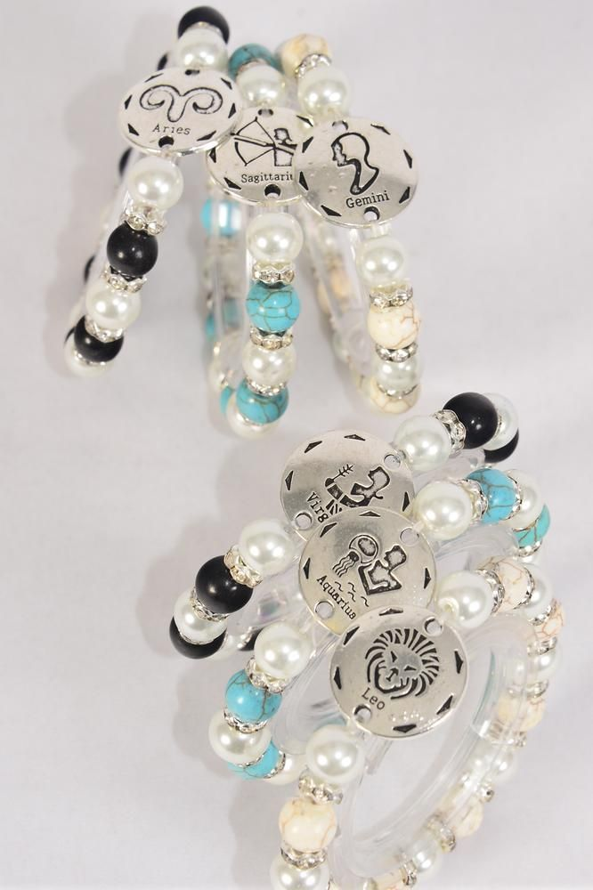 Bracelet Zodiac 10 mm Glass Pearl & 8 mm Semiprecious Stone Bezels Mix Stretch 12 month Asst/DZ **Stretch** 4 Black,4 Ivory,4 Turquoise,12 Month Asst,Hang Tag & Opp Bag & UPC Code