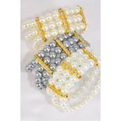 "Bracelet 3 Line 8 mm Glass Pearl Rhinestone Bezels Stretch White Cream Gray Mix/DZ **Stretch** Size-1"" Dia Wide,4 White,4 Cream,4 Gray Mix,Hang tag & Opp bag & UPC Code"