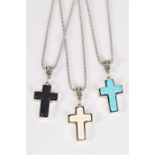"Necklace Silver Chain Cross Semiprecious Stone/DZ match 27126 Pendant-1.25""x 1"" Wide,Chain-18"" Extension Chain,3 Ivory,3 Black,6 Turquoise Asst,Hang Tag & OPP Bag & UPC Code"