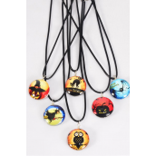 "Necklace Black Helloween Double Sided Glass Dome/DZ match 03068 Pendant Size-1.25"" Wide,Necklace 18"" Long Extension Chain,2 of each Design Asst,Hang Tag & OPP Bag & UPC Code"