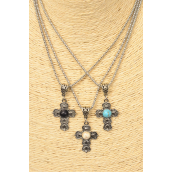 "Necklace Silver Chain Cross Semiprecious Stone/DZ match 02663 Pendant-1.25""x 1"" Wide,Chain-18"" Extension Chain,4 Ivory,4 Black,4 Turquoise Asst,Hang Tag & OPP Bag & UPC Code"