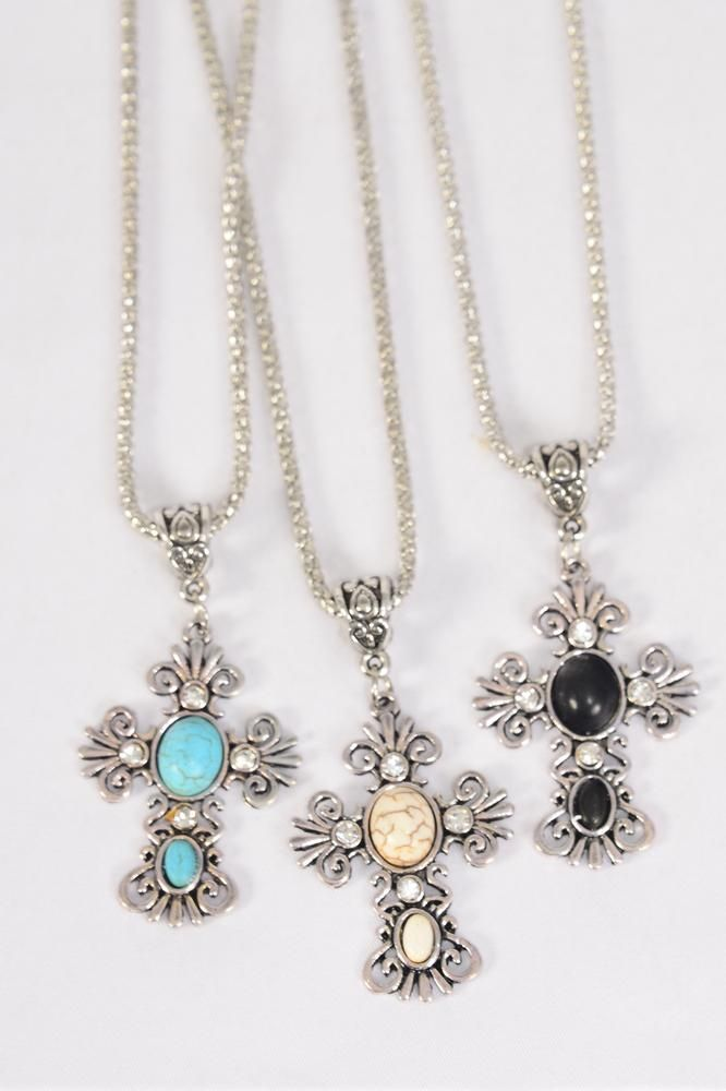 "Necklace Silver Chain Cross Semiprecious Stone/DZ match 27129 Pendant-1.75""x 1.25"" Wide,18"" Extension Chain,4 Ivory,4 Black,4 Turquoise Asst,Hang Tag & OPP Bag & UPC Code"