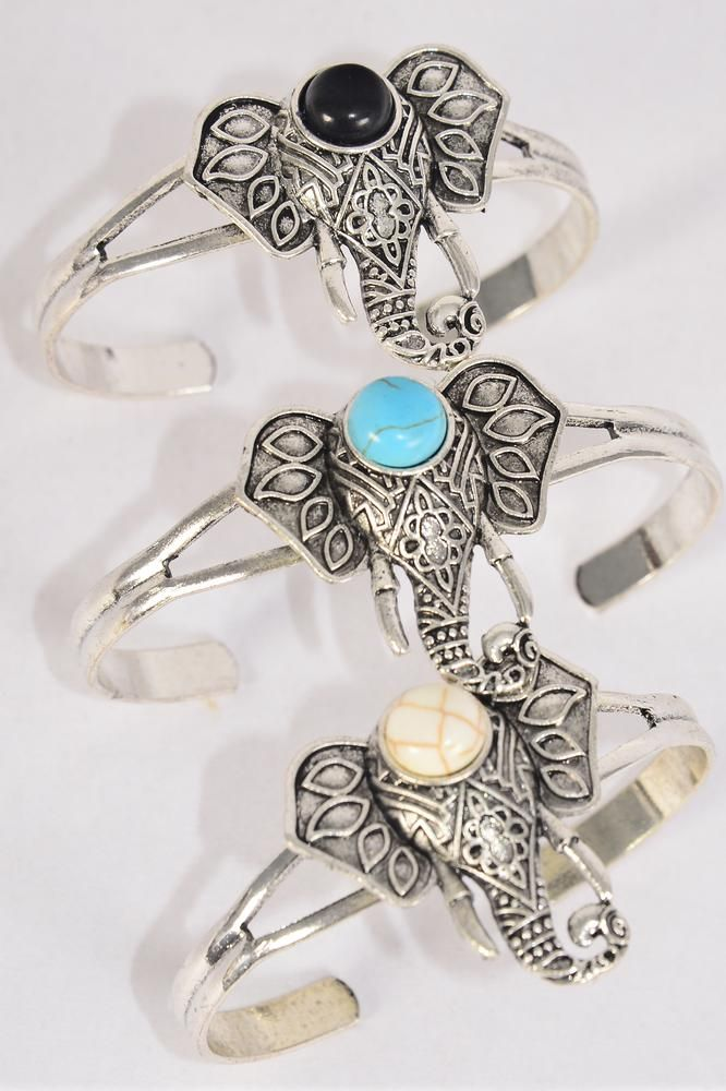 "Bracelet Cuff Elephant Semiprecious Stone/DZ match 03097 **Flexable** Cross-1.5""x 1"" Wide,4 Black,4 Ivory,4 Turquoise Asst,Hang Tag & OPP Bag & UPC Code"