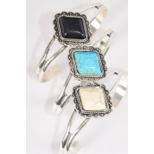 Bracelet Cuff Semiprecious Stone/DZ **Flexable** 4 Black,4 Ivory,4 Turquoise Asst,Hang Tag & OPP Bag & UPC Code