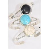"Bracelet Cuff Round Semiprecious Stone/DZ **Flexable** Round-1.25"" Wide,4 Black,4 Ivory,4 Turquoise Asst,Hang Tag & OPP Bag & UPC Code"