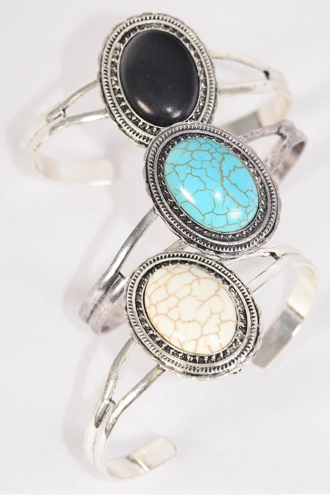 "Bracelet Cuff Oval Semiprecious Stone/DZ match 03094 70082 **Flexable** Oval-1.5""x 1"" Wide,4 Black,4 Ivory,4 Turquoise Asst,Hang Tag & OPP Bag & UPC Code"