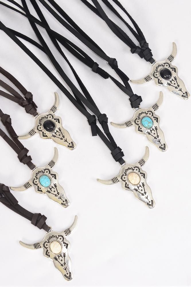 "Leather Necklace Bull Head Center Semiprecious Stone/DZ match 03137 **Adjustable** Unisex,Bull Size-2""x1.5"" Wide,4 Black,4 Turquoise,4 Ivory, 6 Black & 6 Brown Leather Mix,Hang Tag & OPP Bag & UPC Code -"