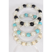 Bracelet 10 mm Glass Pearl & 8 mm Semiprecious Stone & Bezels Stretch/DZ **Stretch** 4 Black,4 Ivory,4 Turquoise,3 Color Asst,Hang Tag & Opp Bag & UPC Code -