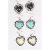 """Earrings Metal Antique Heart Aztec Real Semiprecious Stone/DZ **Fish Hook** Size-125""""x 1.25"""" Wide,4 Black,4 Ivory,4 Turquoise Asst,Earring Card & OPP Bag & UPC Code -"""