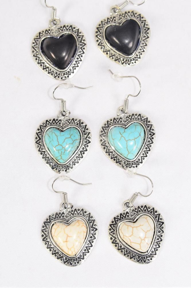 "Earrings Metal Antique Heart Aztec Real Semiprecious Stone/DZ **Fish Hook** Size-1.25""x 1.25"" Wide,4 Black,4 Ivory,4 Turquoise Asst,Earring Card & OPP Bag & UPC Code -"