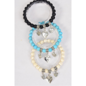 Bracelet 8 mm Semiprecious Stone Heart Charms Paw Print/DZ **Stretch** 4 Black,4 Ivory,4 Turquoise,Hang Tag & Opp Bag & UPC Code -4