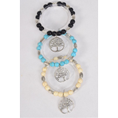 Bracelet 10 mm Semiprecious Stone & Silver Tree of Life Charm Stretchy/DZ match 03140 **Stretch**  Black,4 Ivory,4 Turquoise,3 Color Asst,Hang Tag & Opp Bag & UPC Code