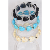 Bracelet Semiprecious Stone Heart Stretch/DZ Match 03121 **Stretch** 4 Black,4 Ivory,4 Turquoise,Hang Tag & Opp Bag & UPC Code -4