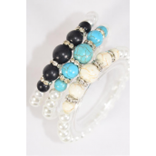 Bracelet 8 mm Glass Pearl & 12 mm Semiprecious Stone & Bezels Stretch/DZ **Stretch** 4 Black,4 Ivory,4 Turquoise,3 Color Asst,Hang Tag & Opp Bag & UPC Code -