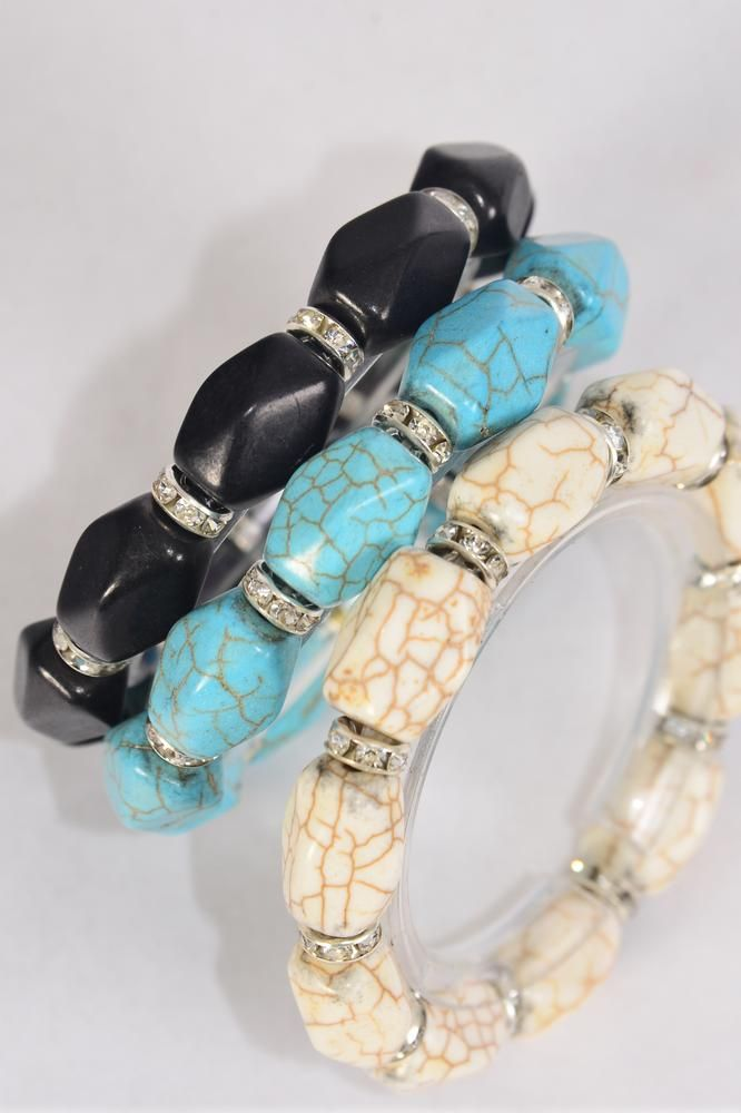 Bracelet 12 mm Hand Carved Real Semiprecious Stone & Rhinestone Bazel Stretch/DZ **Stretch** 4 Ivory,4 Black,4 Turquoise Mix,Hang Tag & Opp Bag & UPC Code -